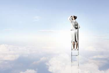 healthcare ladder reaching above the clouds